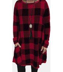 camicetta da donna a maniche lunghe con stampa scozzese casual plus