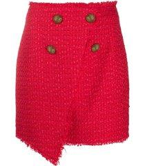 balmain asymmetric wraparound tweed skirt - red