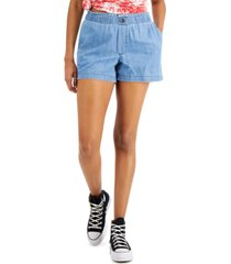 style & co petite cotton pull-on shorts, created for macy's