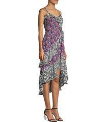 multicolor sleeveless midi dress