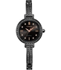 citizen eco-drive women's black stainless steel & swarovski crystal bangle bracelet watch 25mm