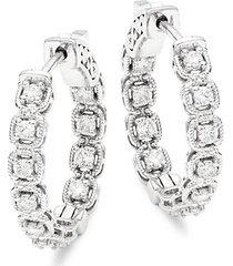 14k white gold & diamond hoop earrings
