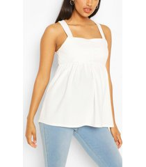 maternity button front smock cami top, white