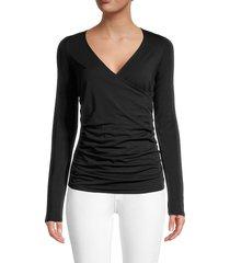 n:philanthropy women's mateese draped surplice top - black - size l