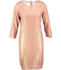 vero moda rose gold metallic trui jurk 3/4 mouw