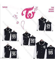 kpop twice coat the story begins baseball uniform sana da hyun mina momo jacket