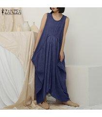zanzea crew mujeres sin mangas vestido de cuello del verano del algodón holgado vestido maxi largo plus -azul marino