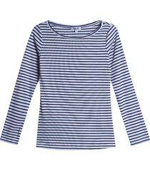 camiseta mujer cuello bandeja color azul, talla 10