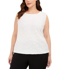kasper plus size sequined textured top