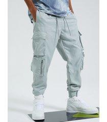bolsillo con cremallera estilo callejero hip hop para hombre carga pantalones
