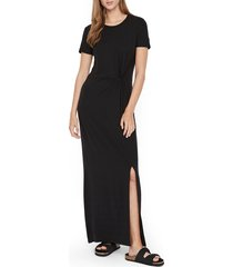 women's vero moda ava lulu short sleeve maxi dress, size large - black