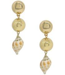 ettika conch shell drop earrings