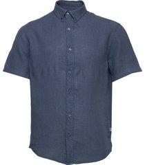 dyed linen sawsett s/s overhemd met korte mouwen blauw mads nørgaard