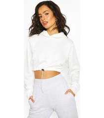 drawcord cropped hoodie, white