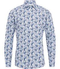 green multi paisley poplin shirt skjorta casual blå eton