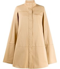 courrèges cut-out sleeve flared coat - neutrals