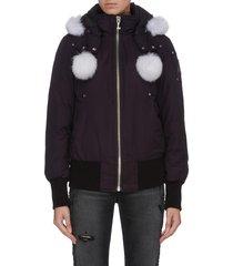 'debbie' fox-fur poms bomber jacket