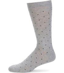 saks fifth avenue men's off square dot heathered mid-calf socks - medium grey