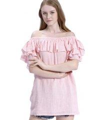 blusa larga vuelo escote rosa nicopoly
