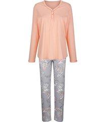 pyjama mona apricot::lichtgrijs::ecru