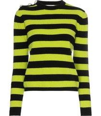 ganni crystal button striped sweater - black