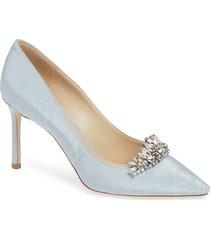 women's jimmy choo romy crystal tiara glitter pump, size 11us / 41eu - blue