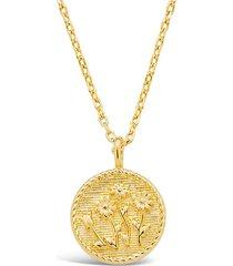 14k gold vermeil engraved wild flower medallion necklace