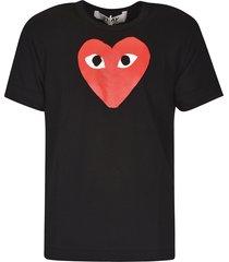 comme des garçons chest heart logo print t-shirt