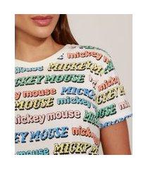 t-shirt feminina mindset mickey mouse estampada manga curta decote redondo off white