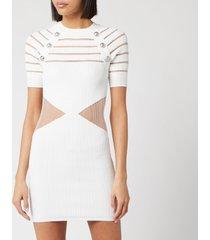 balmain women's short sleeve transparent pleated knit dress - white - fr 40/uk 12