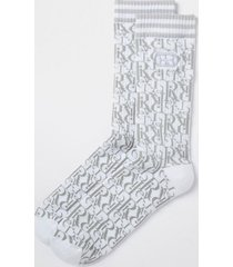 river island mens grey ri monogram socks