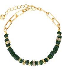 bracciale in ottone rodiato con elementi conchiglia verdi e strass per donna