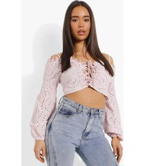 broderie anglaise crop top, blush