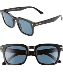 tom ford dax 50mm polarized square sunglasses in shiny black/blue at nordstrom