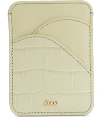 women's chloe walden croc embossed leather card holder - beige