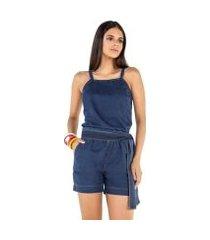 macaquinho jeans amarração feminino
