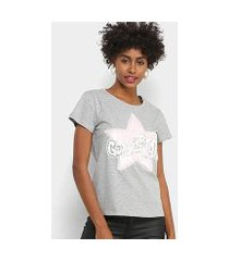 camiseta facinelli golden star paetês feminina