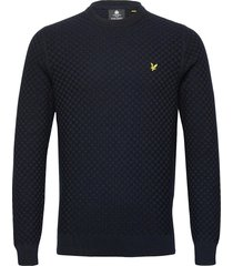 checkerboard knit crew neck jumper gebreide trui met ronde kraag blauw lyle & scott