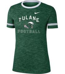 nike women's tulane green wave slub fan ringer t-shirt