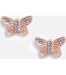 olivia burton women's bejewelled 3d butterfly stud earrings - rose gold & blue crystal