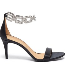 'stella chain' embellished anklet satin heeled sandals