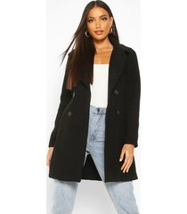double breasted collared wool look coat, black