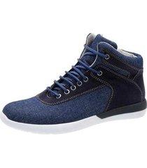 sapatênis mah estevan casual cano médio couro/jeans masculino - masculino