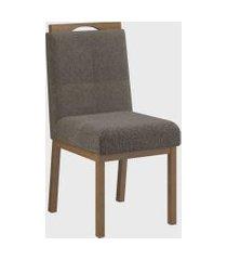 conjunto 02 cadeiras sofia c/ pux. nogueira cinza