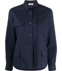 alberto biani multi-pocket shirt - blue