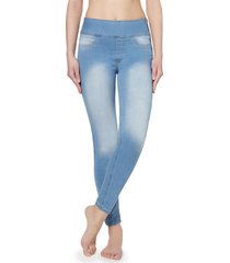 leggings in denim modellanti a vita alta