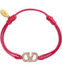 women's valentino garavani crystal vlogo cord bracelet