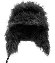 prada fluffy ear-flap hat - black