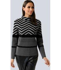 trui alba moda zwart::grijs