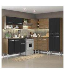 cozinha completa de canto reto madesa emillyicecom armário e balcão 15 portas 1 gaveta rustic/preto rustic/preto